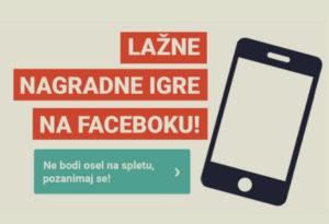 """Grafika, na kateri je pametni telefon in napis """"Lažne nagradne igre na Facebooku!"""""""