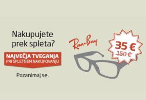 """Grafika, na kateri so RayBan očala, cena 35 evrov in napis """"Kupujete prek spleta? Največja tveganja"""""""