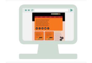 Grafika, na kateri je monitor, na zaslonu pa prikaz spletne strani