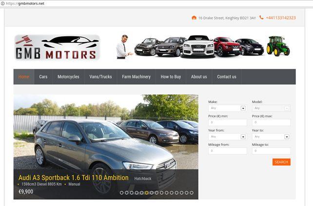 Zaslonski posnetek spletne prodaje avtomobilov na strani gmbmotors.net