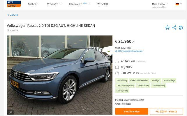 Iz slike je razvidno, da se identične fotografije in opisi nahajajo na še enem oglasniku autoscout24.de (vir: Varni na internetu)