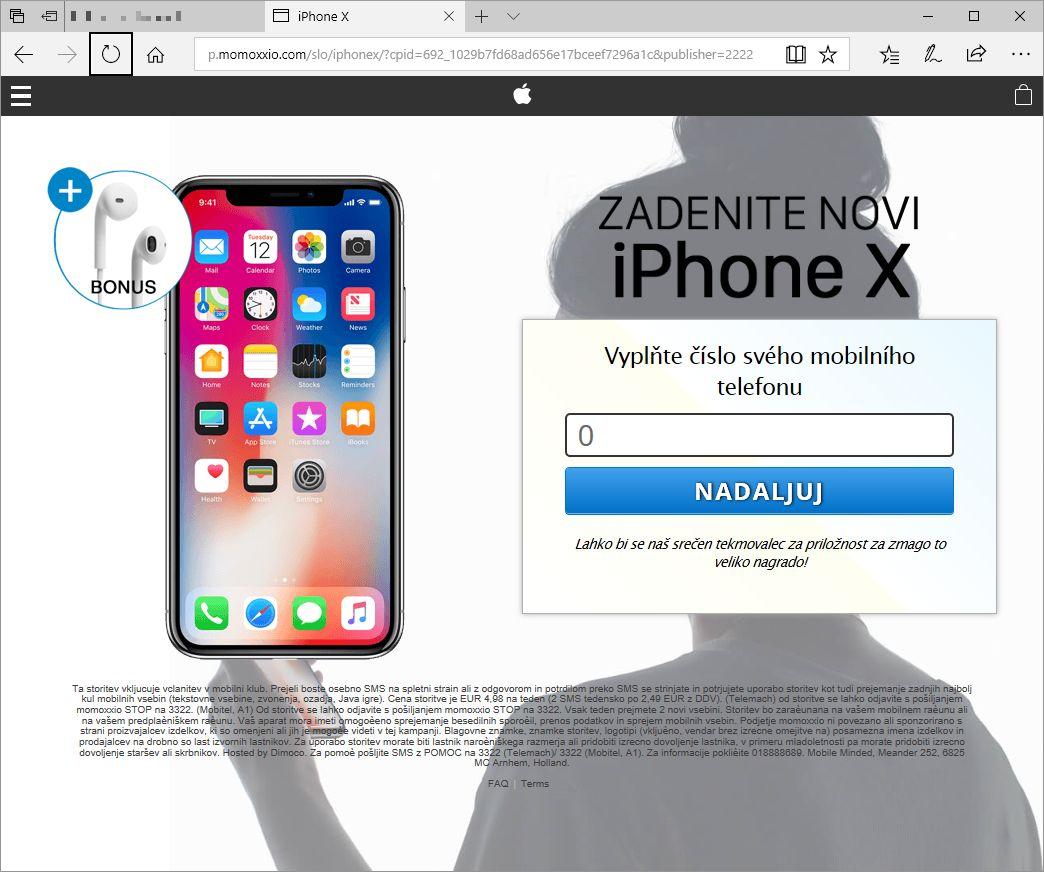 Zaslon s sliko spletne strani, ki je vaba v SMS klub