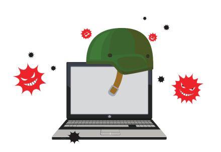 Grafika, na kateri je laptop in na njem vojaška čelada ter okoli rdeči simboli za eksplozijo z zlobnim obrazom