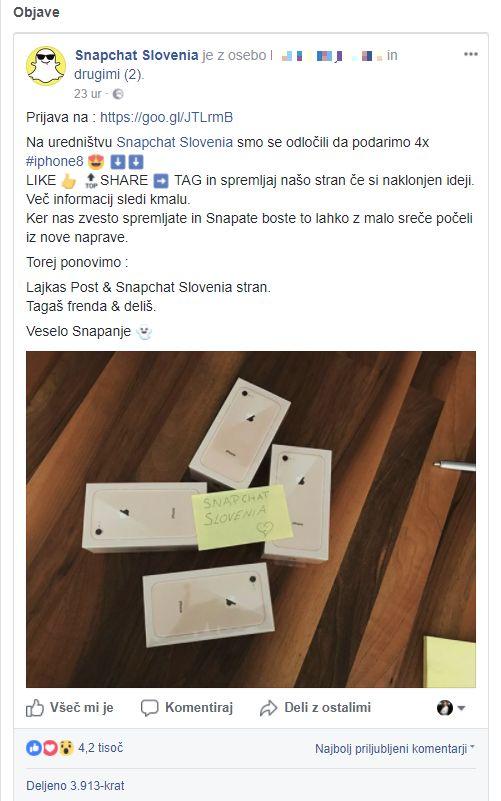 Facebook objava lažne nagradne igre za iPhone8