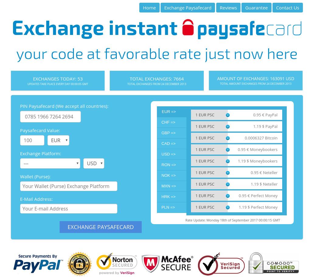 Lažna spletna stran, ki naj bi nudila prenos denarja s Paysafecard