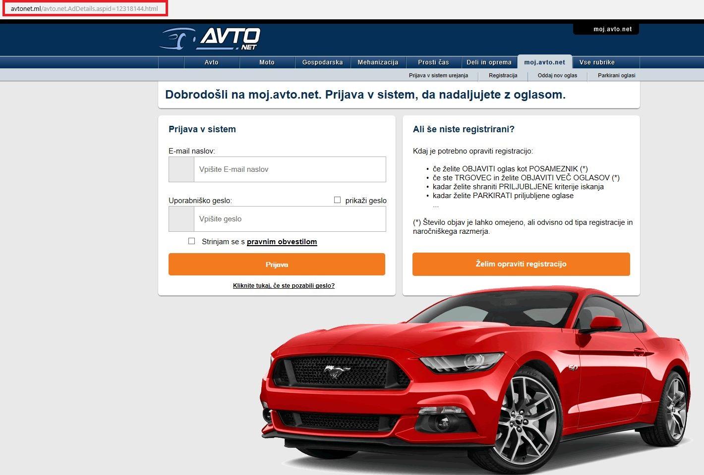 Spletna stran, kjer so goljufi poskušali ukrasti gesla uporabnikov