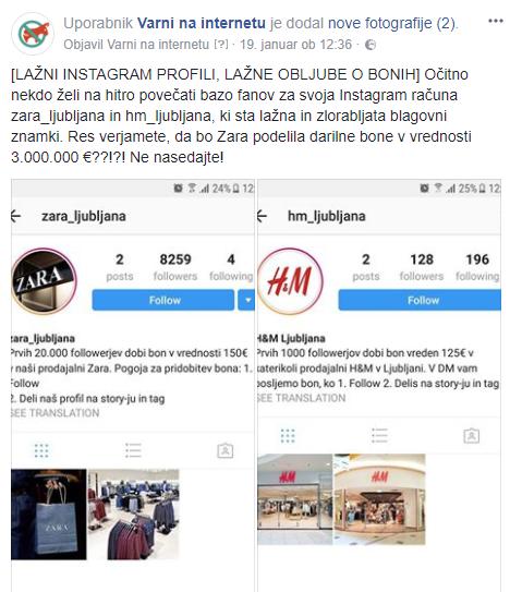 Facebook opozorilo o lažnih instagram profilih