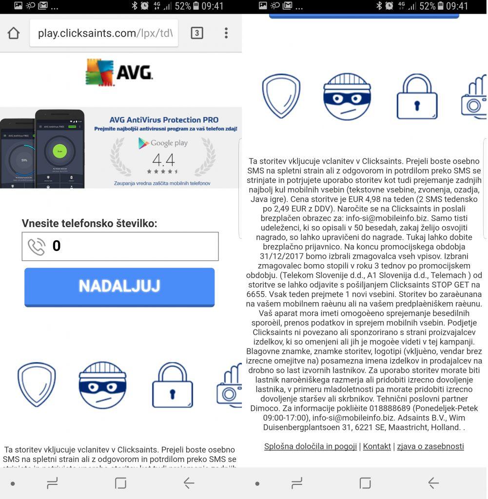 Screenshot mobilnega zaslona, kjer vidimo okno za vnos telefonske številke, s katero se prijavimo v SMS klub
