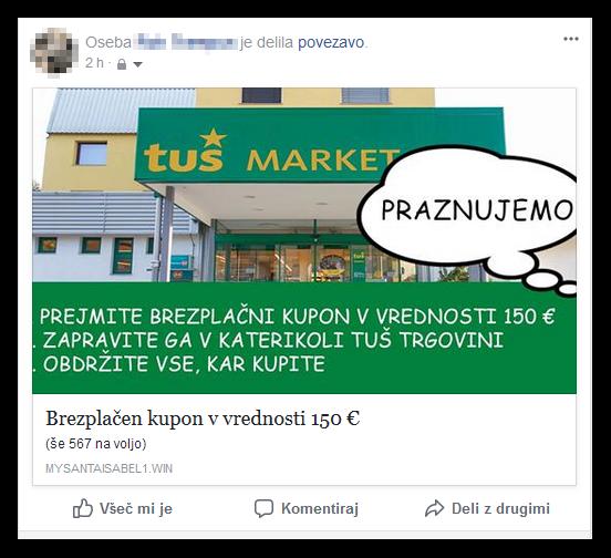 Primer lažnega oglasa na Facebooku