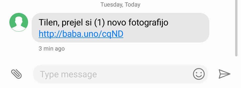 SMS sporočilo, ki nas želi zvabiti, da kliknemo na povezavo