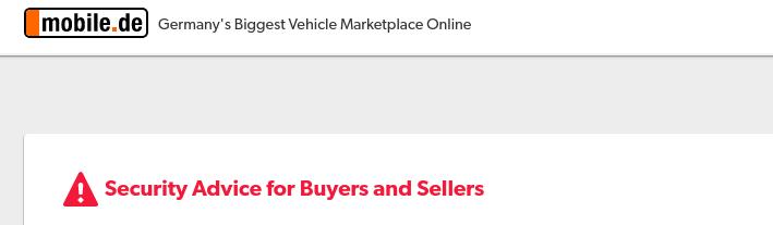 Varnostno opozorilo za kupce na strani mobile.de
