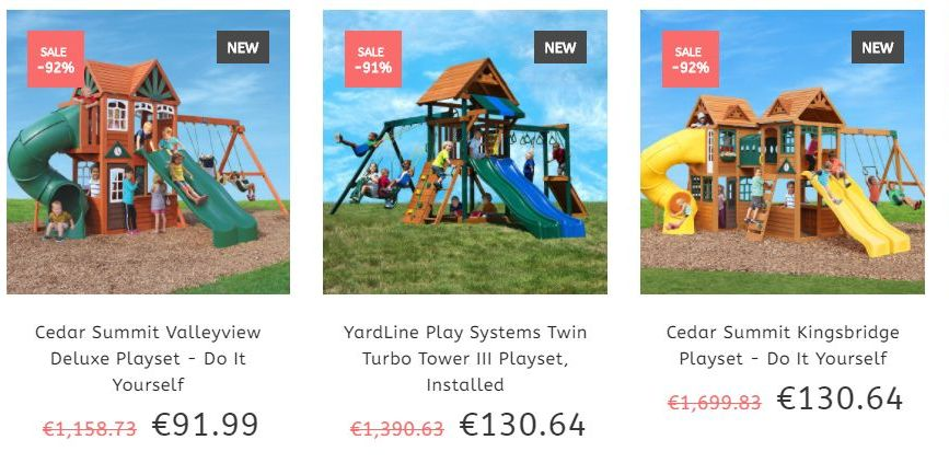 Zaslon, ki prikazuje otroška igrala na spletni trgovini