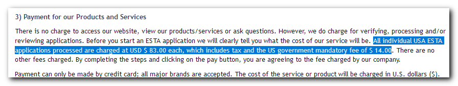 Tekst, v katerem piše, da je ESTA preko neuradne strani dražja za do 60 evrov