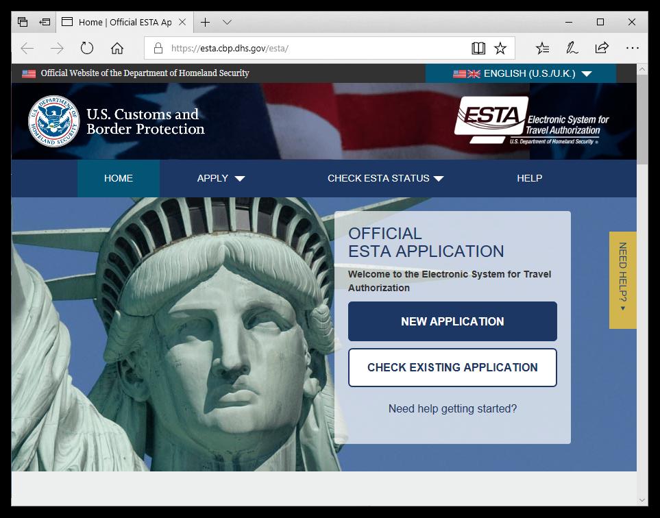 Uradna spletna stran za ESTA