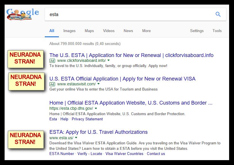 Primer Google zadetkov za ESTA, med katerimi so neuradne strani