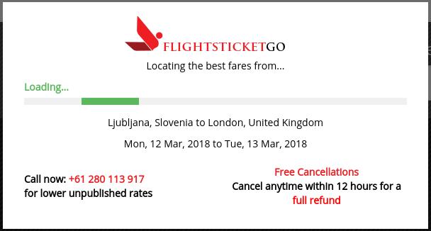 Sporočilo, v katerem iskalnih letov na spletni strani opozarja, da je v roku 12 ur od naročila možna brezplačna odpoved.