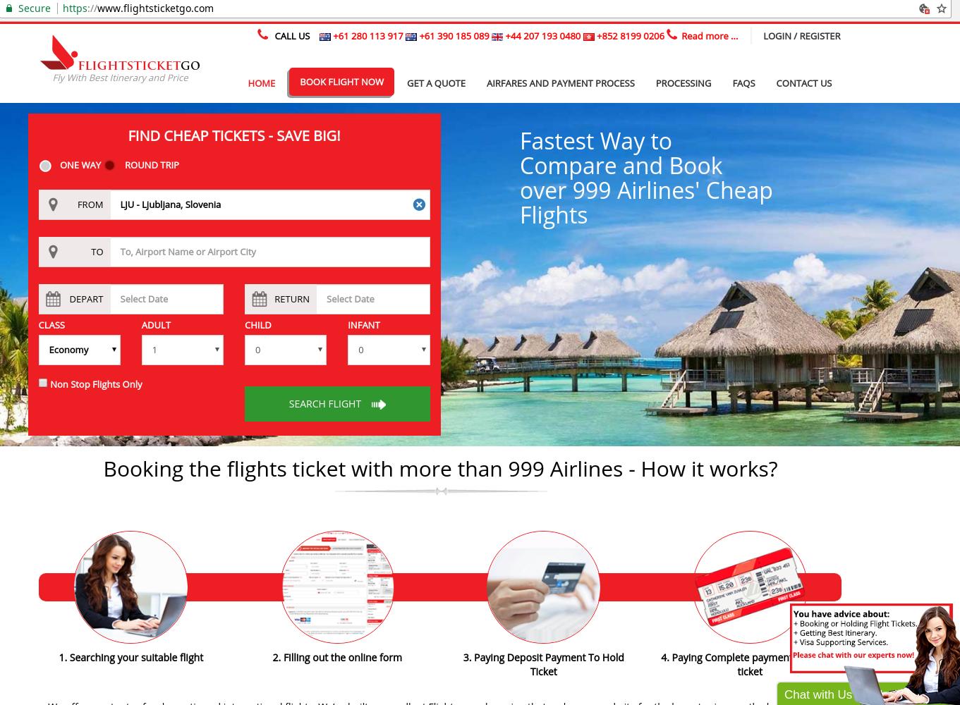 Spletna stran flightsticketgo, kjer naj bi ponujali zelo ugodne letalske karte