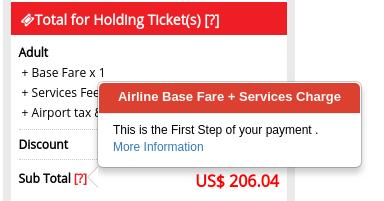 Pojavno okno na spletni strani, kjer izvemo, da znesek predstavlja le 55% cene karte