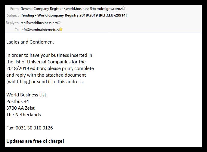 Primer zavajajočega elektronskega sporočila World business list.