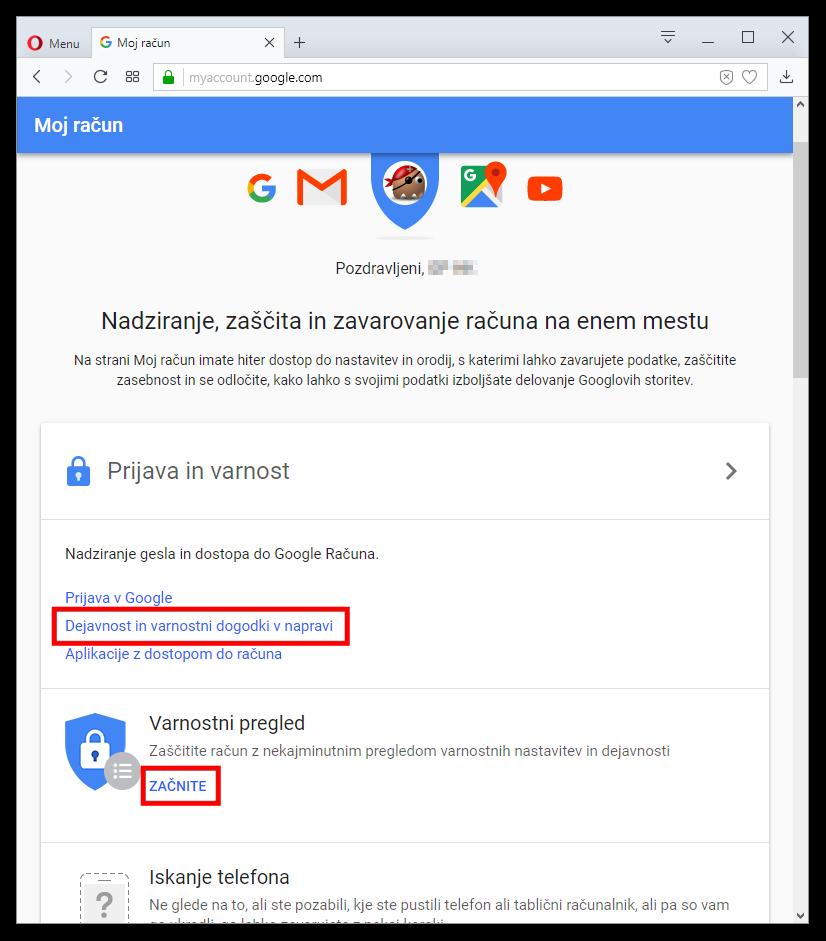 Nadzor nad Google računom