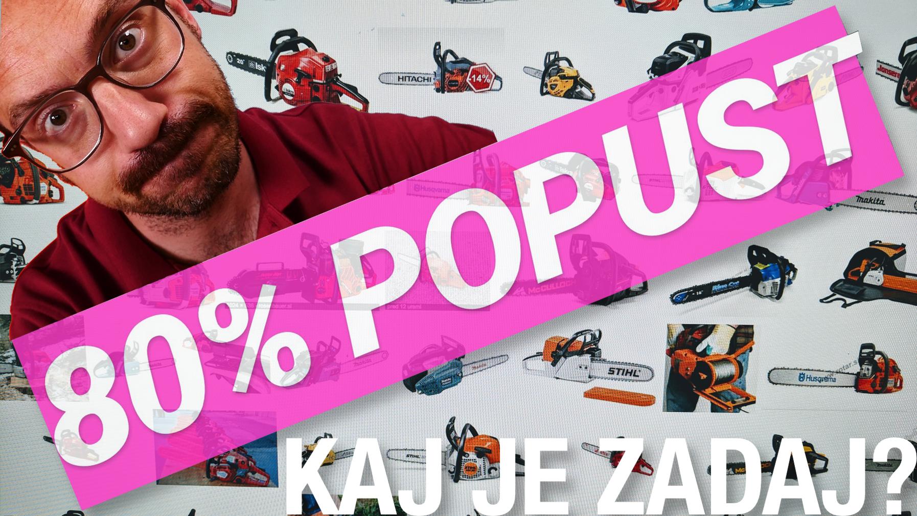 """Naslovna slika videa, na kateri je posnetek spletne trgovine, Jože Robežnik in napis """"80% popust, kaj je zadaj?"""""""