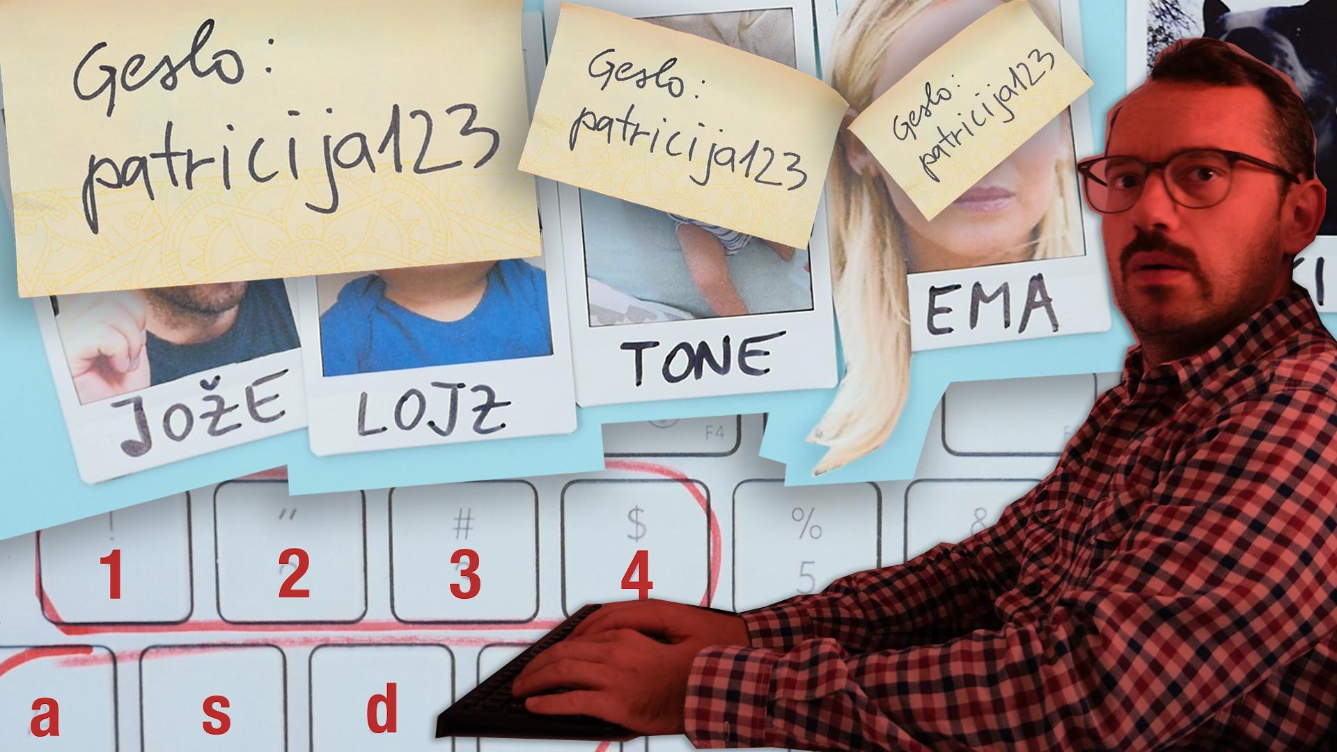 Naslovna slika videa, na kateri je Jože zadaj pa primeri gesel, ki sestojijo iz imen otrok