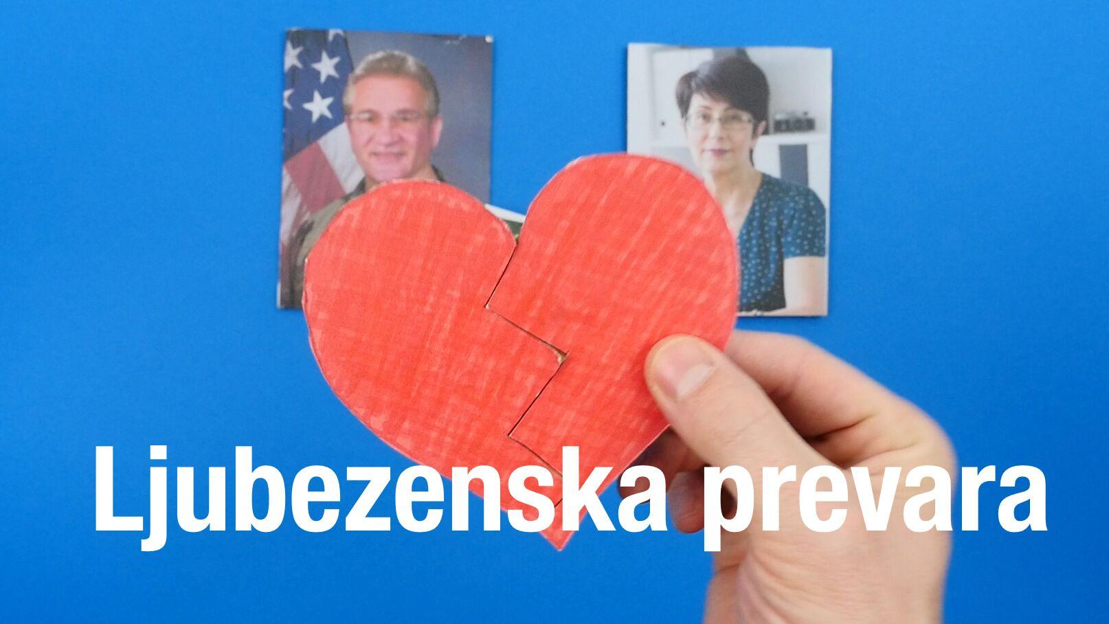 Naslovna slika videa, na kateri sta fotografiji moškega in ženske ter izrez zlomljenega srca