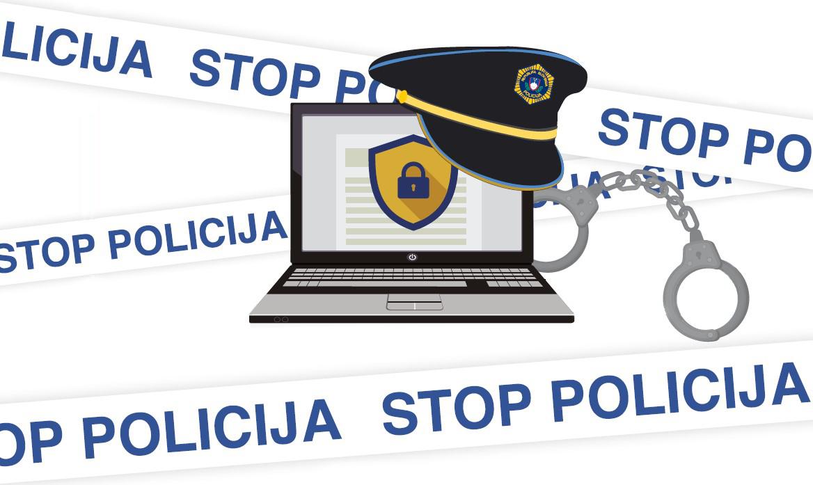 """Naslovna grafika Priročnika za policijo, na kateri je računalnik, policijska kapa, lisice ter policijski trak z napisom """"Stop policija"""""""