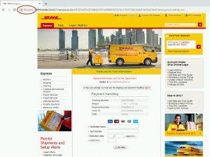 Lažna spletna stran DHL, ki prikazuje, da povezava ni šifrirana
