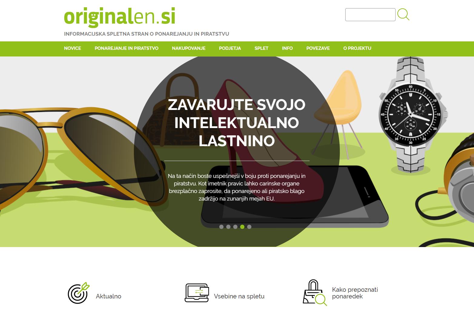 Grafika prikazuje domačo stran novega portala www.originalen.si.