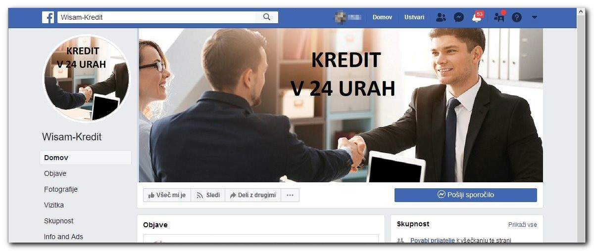 Primer oglaševanja hitrih kreditov na omrežju Facebook