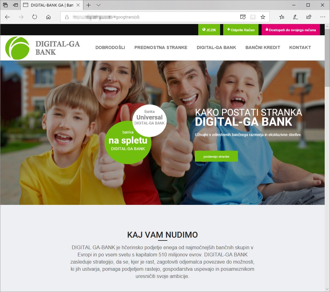 Primer lažne spletne strani banke