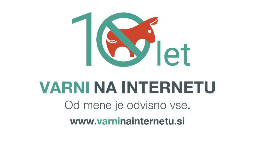 Logotip ob desetletnici programa Varni na internetu