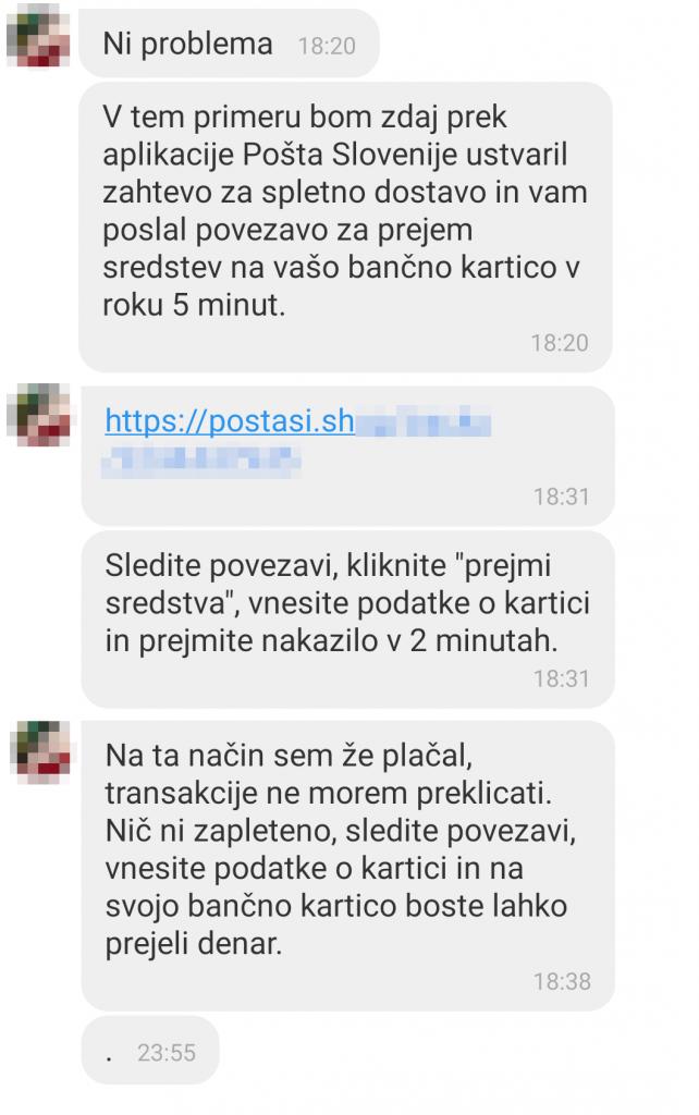 Slika prikazuje SMS sporočilo. Ni problema. V tem primeru bom zdaj preko aplikacije Pošta Slovenije ustvaril zahtevo za spletno dostavo in vam poslal povezavo za prejem sredstev na vašo bančno kartico v roku 5 minut.