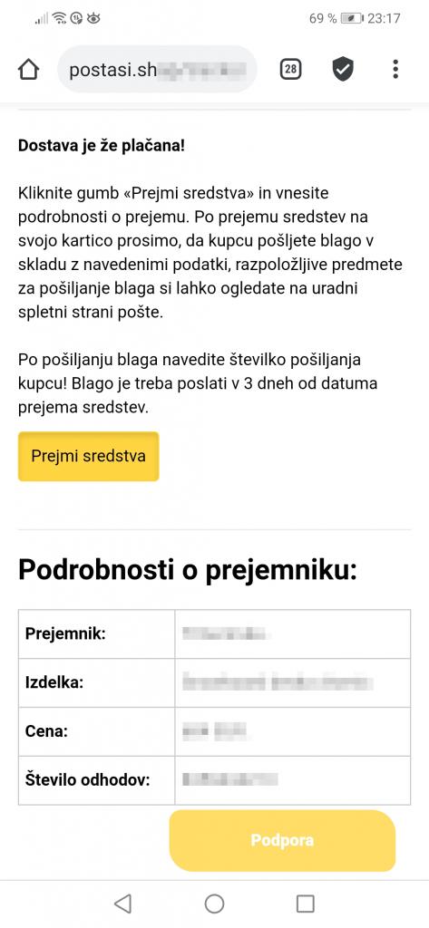 Pošta Slovenije Potrditev prejema sredstev. Za potrdilo o prejemu sredstev na vašo telefonsko številko je bilo poslano sporočilo SMS s portditveno kodo. Vnesite ga v spodnje polje.