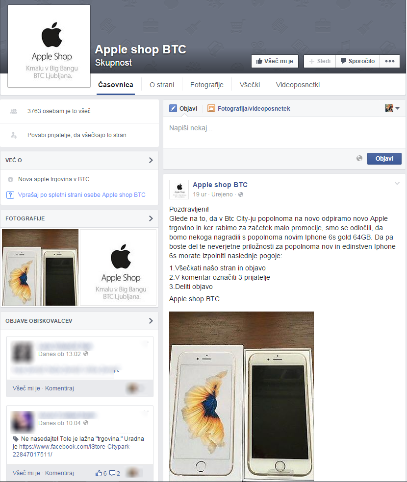 Lažna Facebook stran Apple shop BTC