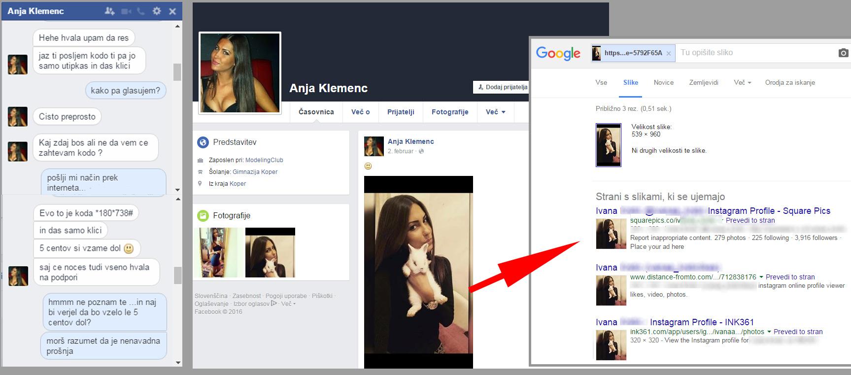 Lažni profil z ukradeno sliko, ki jo lahko na spletu pod resničnim imenom poiščete čisto enostavno: desni klik na odprto fotografijo in izberete 'Išči sliko tu: Google'