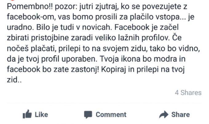 Facebook ne bo plačljiv, brez skrbi!