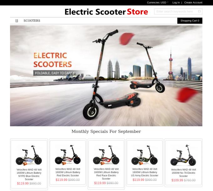 Primer lažne spletne trgovine z električnimi skiroji