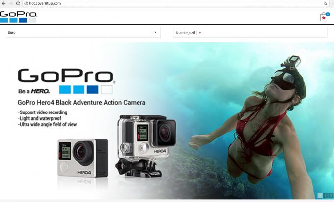 Primer lažne spletne trgovine GoPro
