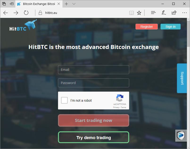 Zaslon, ki prikazuje lažno spletno stran HitBTC
