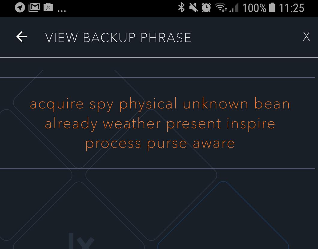 Zaslon, ki prikazuje niz dvanajstih besed za deterministično denarnico