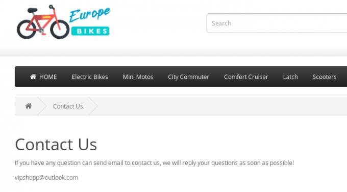 Lažna spletna trgovina, kjer manjkajo kontaktni podatki