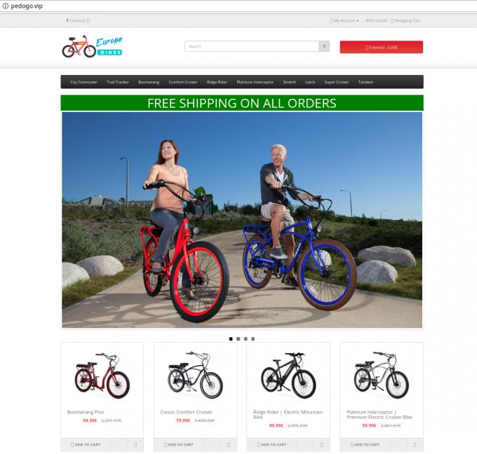 Lažna spletna trgovina s kolesi