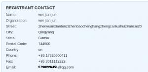 Okno, ki prikazuje podatke registranta domene